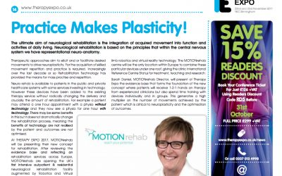 MOTIONrehabs Unique Neurological Rehabilitation Concept featured in Therapy Expo Newspaper